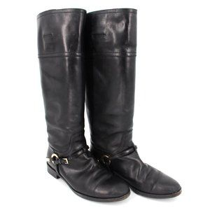 Dior Etrier Leather Buckle High Riding Boots 38